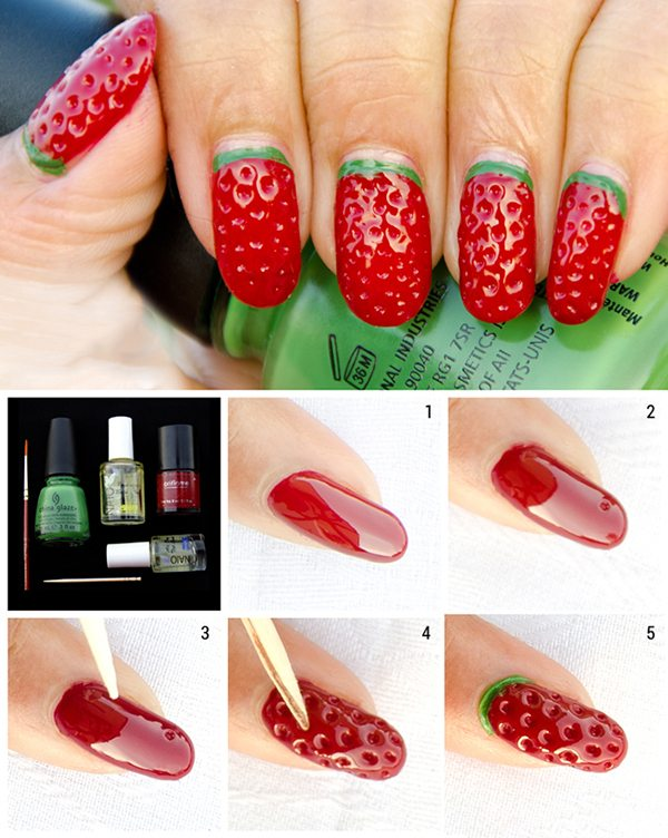 With The Help Of A Thin Nail Art Brush Draw Green Curve On Cuticles